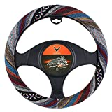 15 inch New Baja Blanket Car Steering Wheel Cover Universal Fit Most Cars Bell Automotive Ethnic Style Coarse Flax Cloth