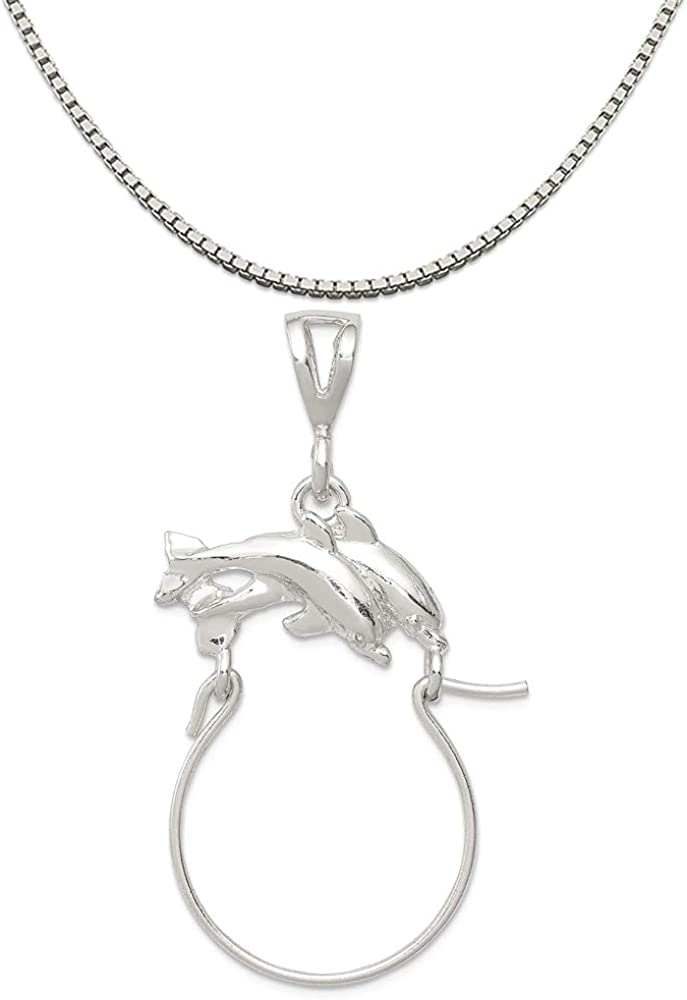 Mireval Sterling Silver Whale Tail Charm on a Sterling Silver Chain Necklace 16-20