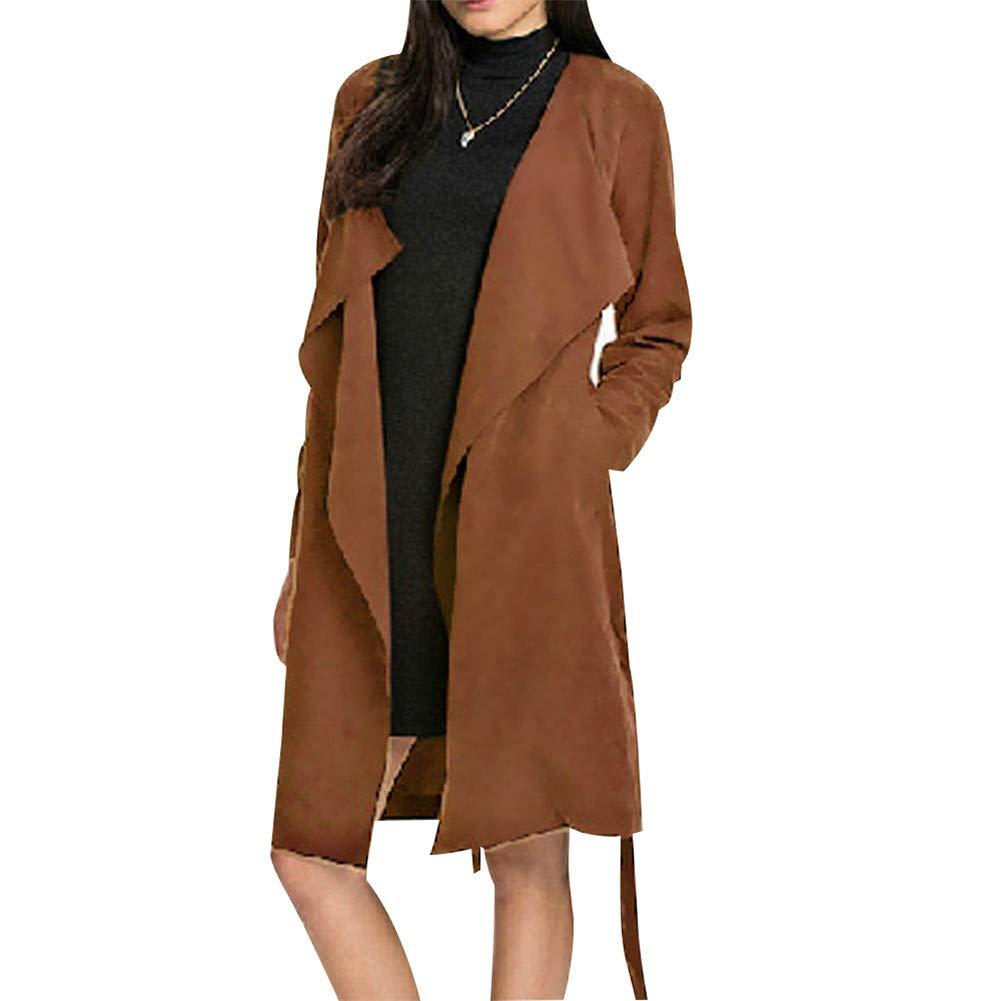 Wardrobe Autumn Winter Big Lapel Belt Woman Casual Long Style Coat