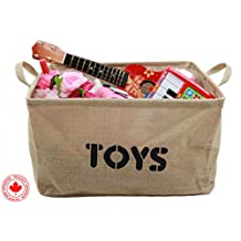 """Jute """"TOYS"""" 17"""" Long x 13"""" Wide Storage Bin - Storage Baskets for organizing Baby Toys, Kids Toys, Baby Clothing, Children Books, Gift Baskets (Large)"""