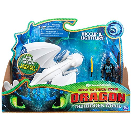 Dreamworks Dragons, Lightfury and Hiccup, Dragon with Armored Viking Figure, for Kids Aged 4 and ()