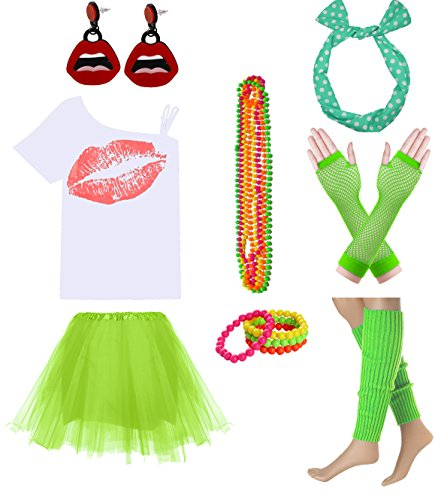 Women Sexy Lips Off Shoulder Shirt with Color Tutu Skirt Complete Costume Outfit (S, White-Green)]()