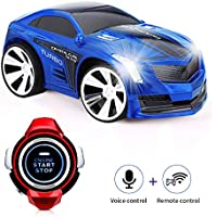 ZJTL Rechargeable Voice Control Toy Car Wrist Watch Command Creative Voice-Activated Remote Control RC Car-Blue