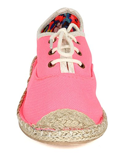 Women Ballet Espadrille Up Cap Fabric Qupid Neon Toe Flat Lace CC65 Pink OX8515