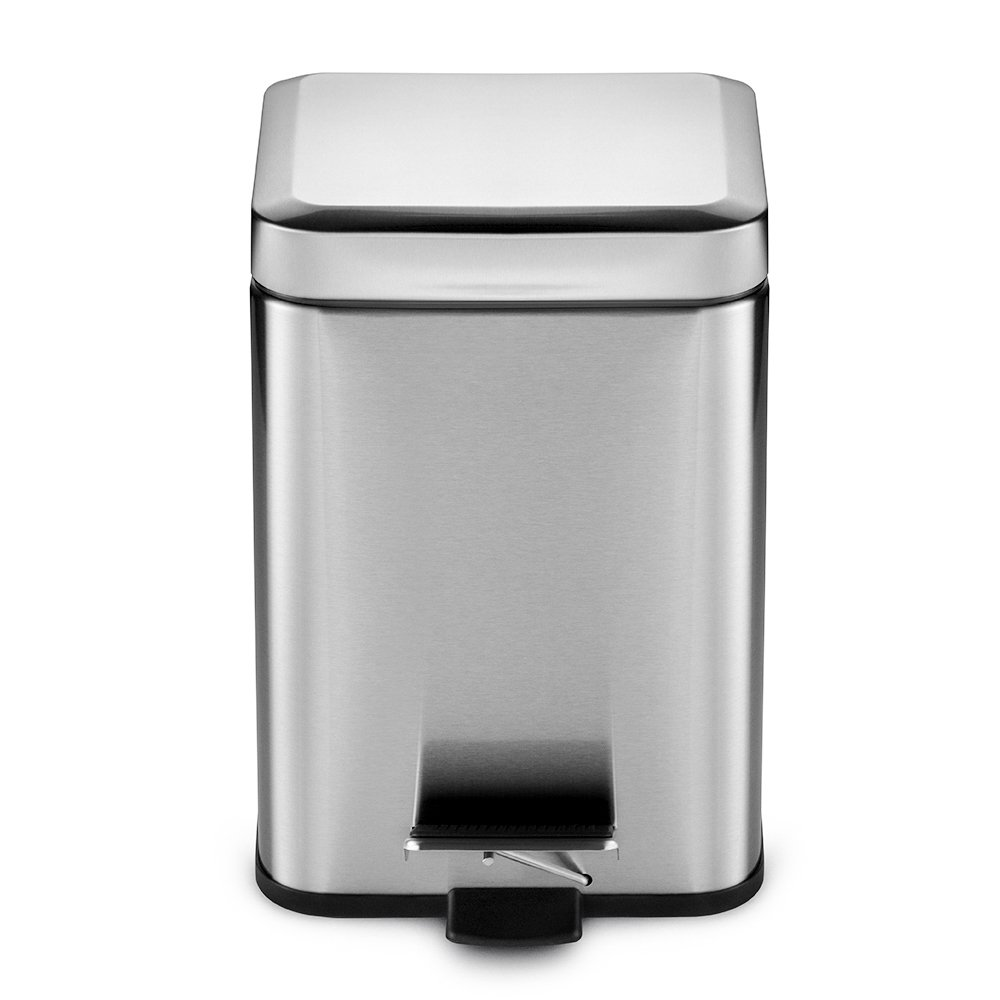 Vookoon Stainless Steel Trash Can, 6 Liter/ 1.6 Gallon Step Small Garbage Can for Kitchen, Bathroom and Office