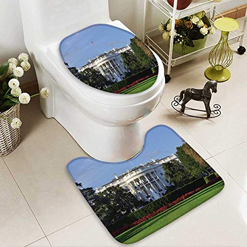 HuaWuhome 2 Piece Bathroom Mat Set The White House Washington DC United States Soft Shaggy Non Slip -