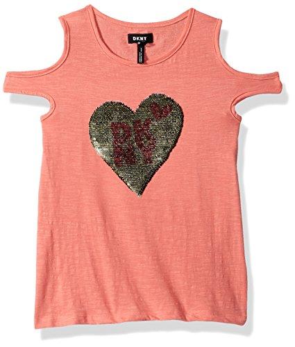 DKNY Toddler Girls' Short Sleeve T-Shirt, Reverse Sequin Heart Burnt Coral, 4T