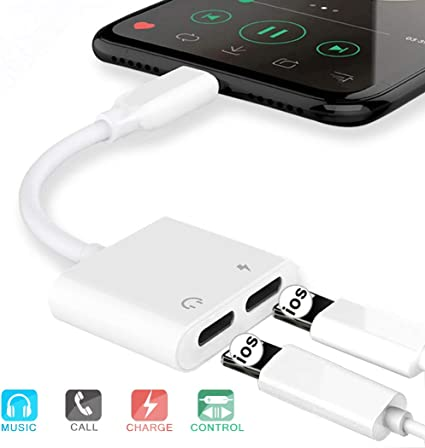 Headphone Adapter for iPhone Adapter Jack Dongle Earphone to 3.5mm Jack Aux Audio Stereo Adaptor Charger Cable Accessories Compatible with iPhone 7//7Plus//8//8Plus//X//XS Max Support iOS 12 System