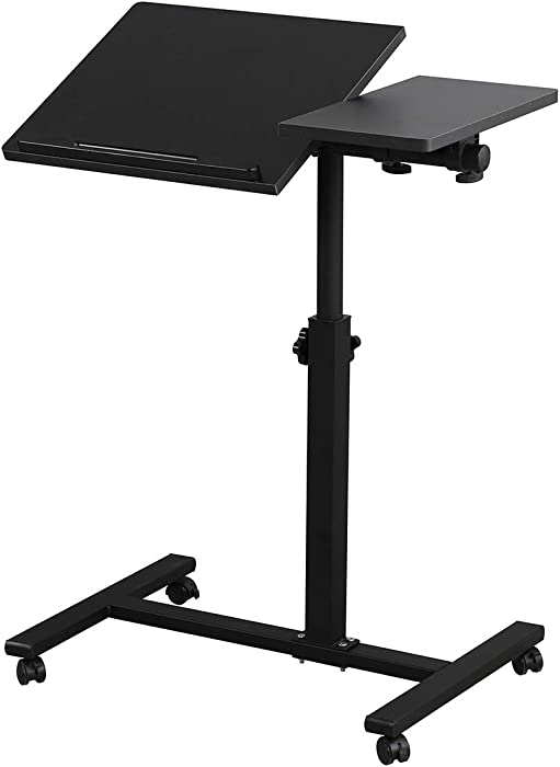 Rolling Laptop Table Lap Desk for Laptop Rolling Cart Tilting Overbed Bedside Table Overbed Desk Overbed Table with Wheels Adjustable Laptop Stand Sofa Side Table (Black)
