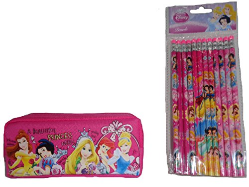 (Disney Princess Pencil Case + 12 Decorated Pencils)