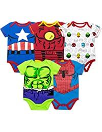 Baby Boys' 5 Pack Bodysuits - The Hulk, Spiderman, Iron...
