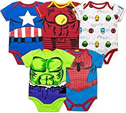 Baby Boys 5 Pack Bodysuits - The Hulk  Spiderman  Iron Man and Captain America