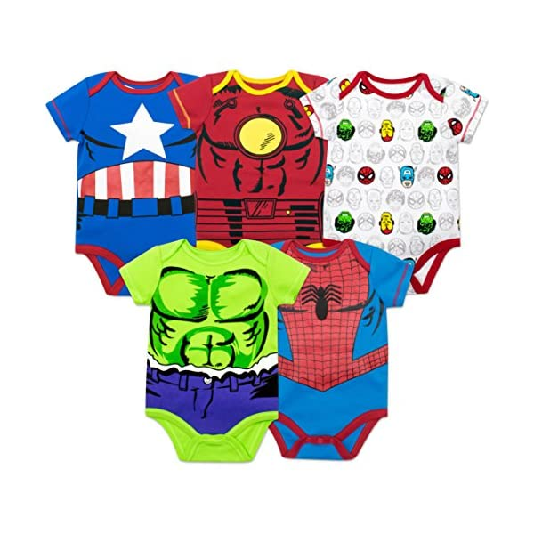 Marvel Baby Boys' 5 Pack Bodysuits – The Hulk, Spiderman, Iron Man and...