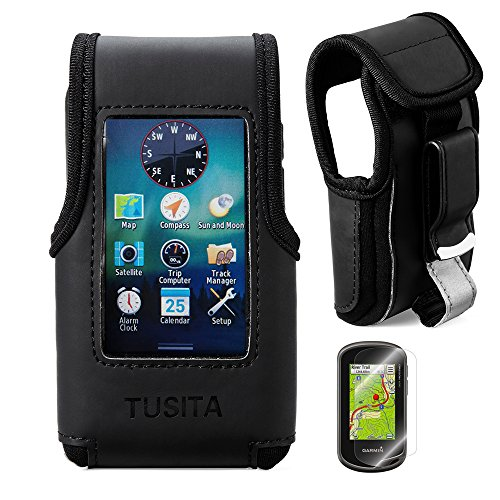 TUSITA Carrying Case With Belt Clip and Screen Protector for Garmin Oregon 600/600t/650/650t/700/750/750t Handheld GPS Leather Cover (Black) by TUSITA