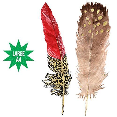 Groovi - Animal Print Feathers Temporary Tattoos 573 - TATT-573 - Large A4