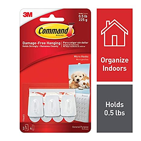 Command Micro Plastic Hook(White,3 Hooks and 4 Strips) Wall Hooks at amazon