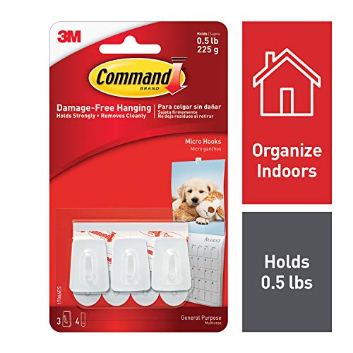 Command Micro Hooks, Organize Damage-Free, Indoor Use, Holds 0.5 lbs, White (17066ES)