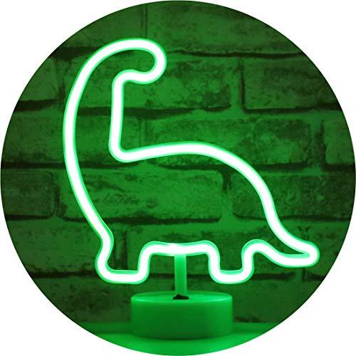 LED Neon Dinosaur Signs – USB & Battery Powered Neon Night Lights – Light Up Animal Sign Apartment Desk Top Room Decor for Teen Girls Kids (Dinosaur with Holder)