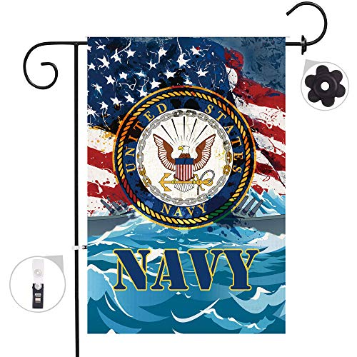 Bonsai Tree US Navy Burlap Garden Flag Sets, Decorative Double Sided Military Flags with a Rubber Stopper Stop and a Anti-Wind Clip,12