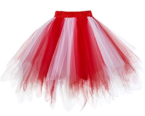 Musever 1950s Vintage Ballet Bubble Skirt Tulle Petticoat Puffy Tutu Red/White Small/Medium