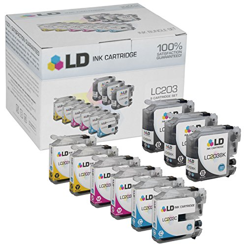 LD © Compatible Replacements for Brother LC203 9PK HY Ink Cartridges:3 LC203BK Black,2 LC203C Cyan,2 LC203M Magenta,& 2 LC203Y Yellow for MFC J4320DW, J4420DW, J4620DW, J5520DW, J5620DW,& J5720DW