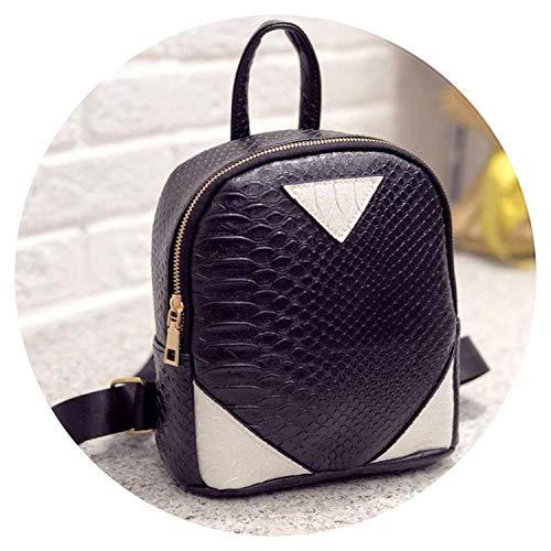 Women Backpack Bookbag Concise Serpentine Bag for Teenagers Shoulder Backpack,Black,US