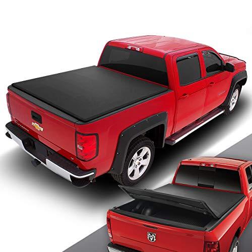 DNA MOTORING TTC-TRISOFT-006 Pickup Truck Rear Trunk Bed Soft Tri-Fold Adjustable Tonneau ()