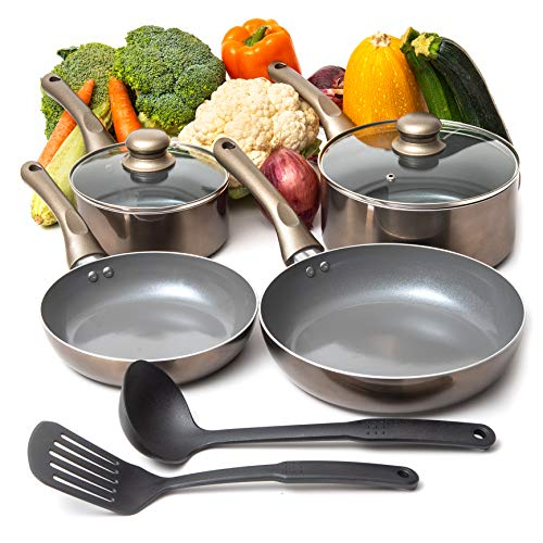 Moss & Stone 8 PCS Nonstick Cookware Set, Aluminum Pots and Pans with Cooking Utensils, Induction Cookware, Pots and…