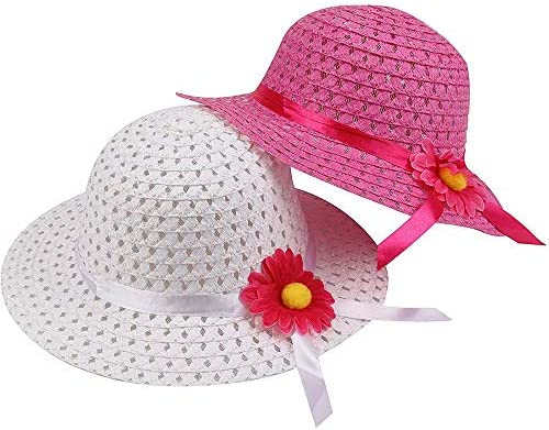 Girls Sunflower Straw Hats, Girls Tea Party Hats Set (8 Pcs Per Set, with Assorted Colors, for Kids 2-6)