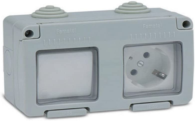 Famatel M111834 - Base enchufe tt con conmutador estanco