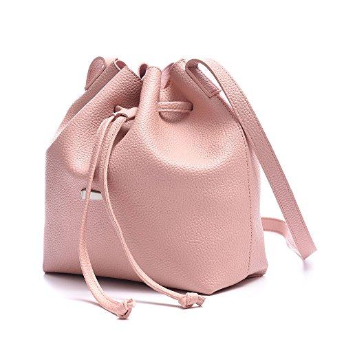 Pink secchiello 2 con con PU Set traversino Borse con Women coulisse Leather Borse pezzi 2 Artmis piccolo Wq5TZXBf
