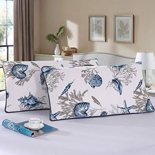 Babycare Pro 100% Cotton Seashell Pillowcases Queen/King Size Quilted Bed Pillowcases 2 Pack King Size 50cm x 90cm (20in x 35in) (King, Sea Shell Pillowcases) ()