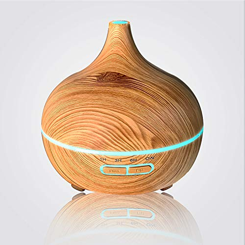 TeaMaX Aromatherapy Essential Oil Diffuser Wood Grain Ultrasonic Cool Mist Humidifier Air Cleaner BPA Free with 7 Colorful Changing LED Timer Mode 300ML