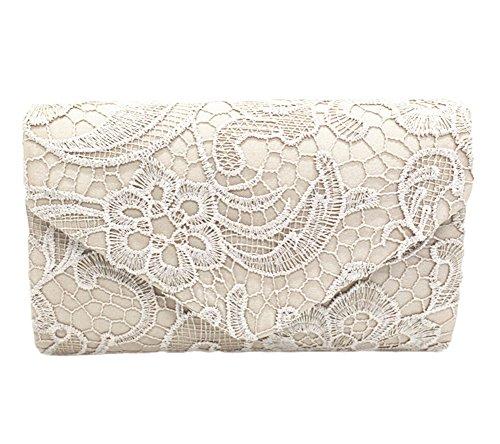Bridal Wedding Purse Evening Bag Envelope Bags Bridesmaid Lace Women khaki Clutch cpXx5YT5q