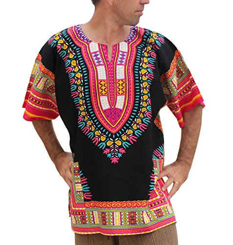 Raan Pah Muang Brand Unisex Bright African Black Dashiki Cotton Shirt, Small, Multi Black/Pink -
