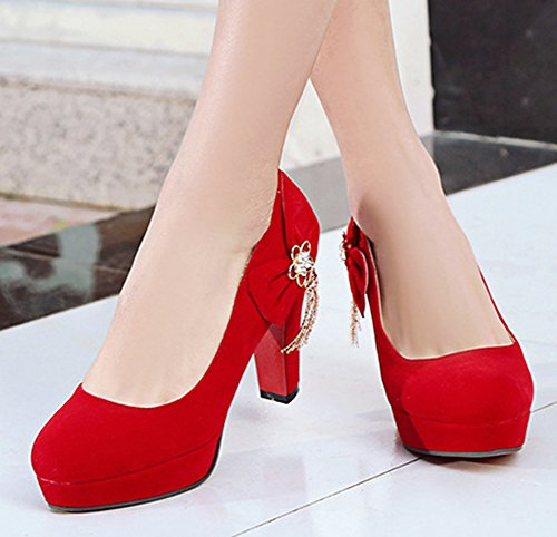 Cut Bridal High Round Shoes Heel Aisun Slip Bow Red Womens Chunky With Platform Toe On Rhinestone Low Pumps RWEwz