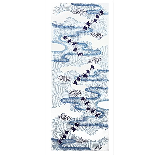 Japanese Tenugui Hand Dyed 100% Cotton Fabric - Chidori Little Birds flying among the waves [Japanese Crafts - At Shops Waterside