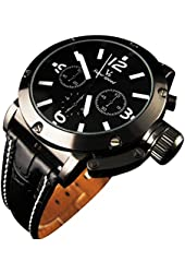 YouYouPifa® Sport Style Black Dial Leather Strap Men's Quartz Wrist Watch (White)
