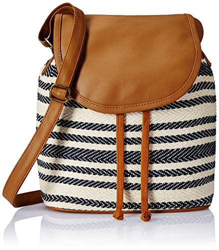 Studio99 Women Crossbody Sling Flap Over Bag-Boho Jacquard Canvas and Vegan PU Leather with Draw Strings for Ladies, Teens, Girls (11 x 13 x 4.5