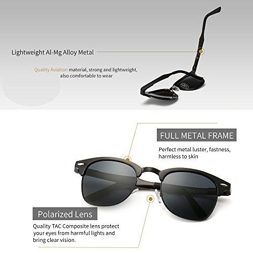 025e9f969540 SUNGAIT Classic Half Frame Clubmaster Sunglasses with Polarized Lens ...