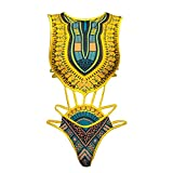 Women's African Tribal Print Bikini High Cut Monokini One Piece Swimsuit Backless Swimwear (L, Yellow)