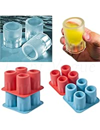 Take 4-Cup Ice Cube Shot Shape Rubber Shooters Glass Freeze Mold Maker Tray Party 40 lowestprice