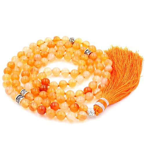Gemstone Mala Beads Necklace, Mala Bracelet, Buddha Necklace, Hand Knotted Mala -