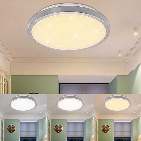 12 W Cambio de color – Lámpara LED de techo tono ajustable Salón Lámpara Lámpara De Techo Fur Dormitorio bruñido redondo 3 en 1 Cambio de color ...