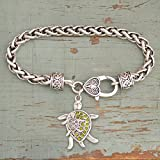FTH Turtles Mom & Baby on Her Back Bracelet is Embellished with Clear & Green Crystal Rhinestones.Super for a Turtle Enthusiast!
