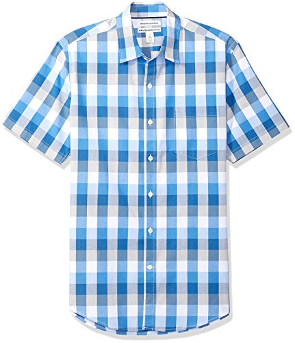 Amazon Essentials Men's Slim-Fit Short-Sleeve Casual Poplin Shirt, Blue/Grey Check, Large