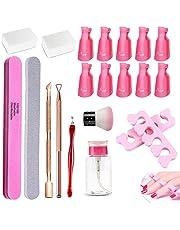 Nagellakremover Tools Kit Met Nagelclip-doppen, 10 x Nagelklem, 200 x Nagelpads, Kwast, 2-in-1 Nagelriemschraper En Pusher, Nagelscheider, Dispenserfles, Nagelriemverwijderaar Nagelschaar (roze)
