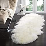 YIHAIC Faux Sheepskin Rug,Fur Faux Fleece Fluffy Area Rugs Anti-Skid Yoga Carpet for Living Room Bedroom Sofa Floor Rugs (white, 60 x 160cm)