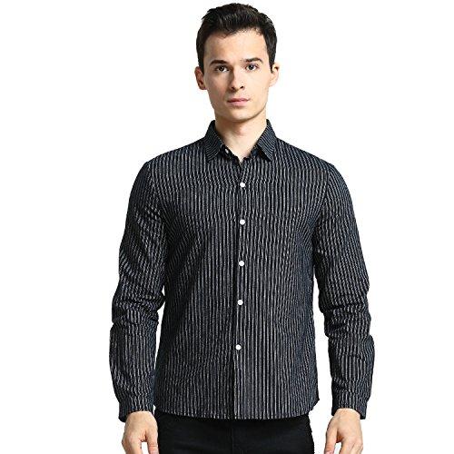 ポンペイ怖がって死ぬなんでもGoodid ワイシャツ ストライプ Yシャツ おしゃれ シンプル カジュアル 長袖 メンズ
