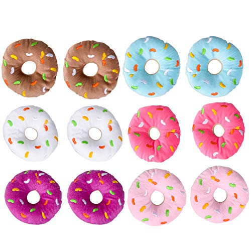 Bedwina Plush Donuts with Sprinkles, Set of 12- Assorted Colors Perfect Party Favor, Carnivals, Birthdays, for Kids